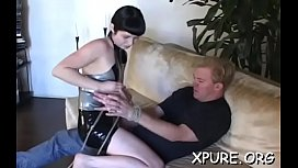 Robust angel shows a man what female domination means