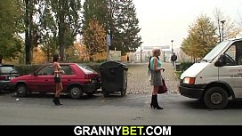 Very old blonde prostitute rides his big cock