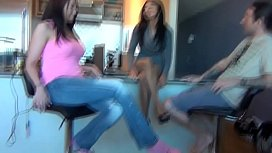 Nanny shows sister the cure for brothers add with footjob
