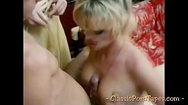 Two blondes in a classic threesome porn