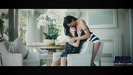 Petite teen and busty MILF lesbian kissing and licking