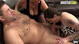 AMATEUR EURO - German Big Tits Matures Sucks And Rides Cock In Hardcore FFM Sex (Erna &amp_  Adrienne Kiss)