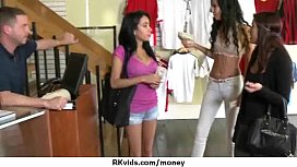 Sexy exhibitionist GFs are paid cash for some public fucking 3