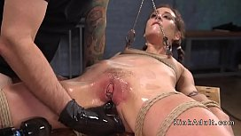 Anal slave pussy caned...