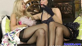 British stockings milf plays...