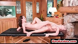 Sweet hairy pussy getting licked on the massage table - Britney Amber, Jade Nile
