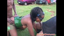 Enchained African babe gets...