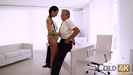 OLD4K. Tight young pussy of bewitching secretary Liliane hypnotizes daddy