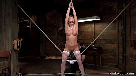 Gagged hairy blonde toyed in hogtie