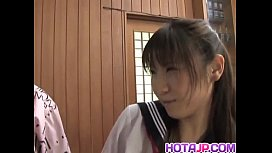 Momo Aizawa in uniform sucks and rubs dicks and has crack nailed