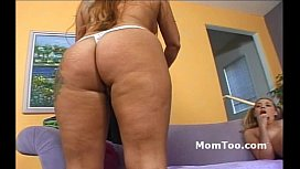 Charming busty blonde mom with hairy pussy and daughter with pigtails show pussy xnxx image