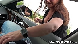 Rich man got his cock sucked by granny and her granddaughter