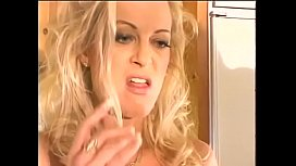 Young brunette takes big cock in her hairy pussy at the kitchen while Brooke Hunter watches
