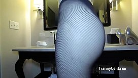 Tranny wanks and cumes...