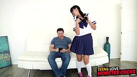 Innocent Asian schoolgirl stretched...