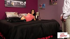 British voyeur teasing and instructing on bed xxx video