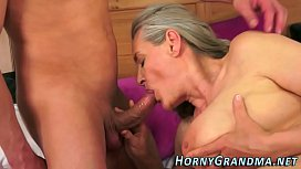 Grandmother jizz mouthed