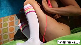 Kendall Karson plays with...