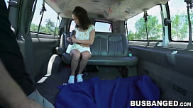 Picked up teen sits on fat dick and rides it backseat