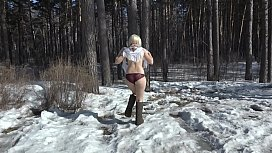 The best compilation golden shower of hairy pussy outdoors in winter. Amateur fetish with urine on white snow.