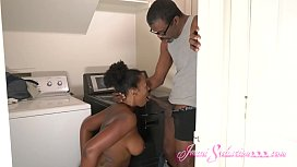 Young Big Booty Ebony Imani Fucks Richard Mann in the Laundry Room