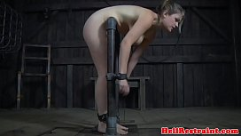 Restrained bdsm sub caned...
