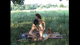 Very cool threesome picnic...