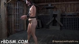 Restrained hotty made to submit to dude horny demands
