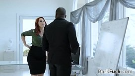 My hairy pussy needs my boss' big black cock - Edyn Blair and Rob Piper