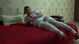 Chubby nurse fucks with a huge rubber dick. Medical-themed amateur role-playing fetish game, juicy PAWG shaking, and foot fetish.