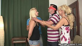 Older woman seduces sweet girl into threesome