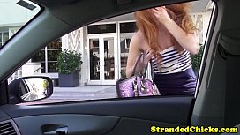 Stranded redhead teen pays...