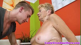 Cockriding granny pounded after making out