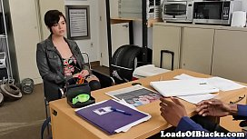 Casting babe fucked on desk by black agent