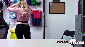 Petite blonde thief is sucking a big cock to avoid jail time!