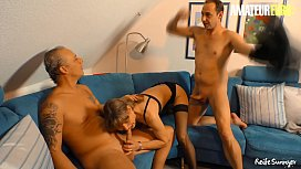 AMATEUR EURO - German Mature Couple Invites Their Neighbor For A Hardcore Saturday Night