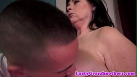 Busty grandma jizzed in mouth by young guy