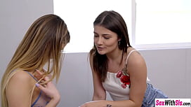Lesbian teen takes help of stepbro to fuck her friend