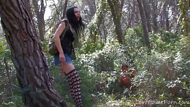 Skinny French girl double penetration and ass fucking in the woods