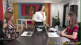 Stockinged lesbian licked out...
