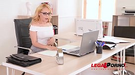Petite blondie Natasha Teen XXX ass fucked in handcuffs on the office desk GP728