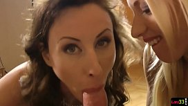 MILF beauty tugging cock...