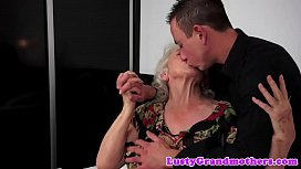 Tittyfucked grandma loves y. cock