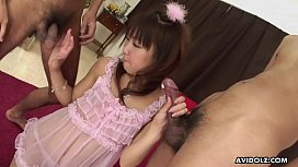 Asian princess in a pinki gown sucking off two dudes with desire