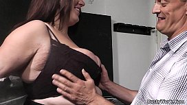 Boss bangs brunette fatty...