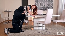 Gorgeous redhead maid Isabella...