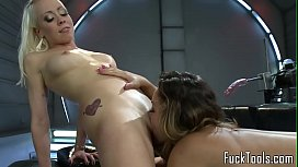 Busty lesbian licks pussy before dildo toying