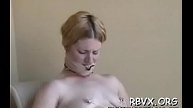 Busty angel gets extremely horny while being bounded taut
