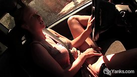 Blonde Aden Fingers Her Hairy Twat In The Car