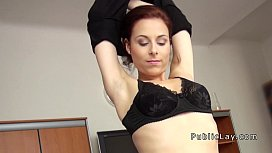 Cute redhead from public banged in an office